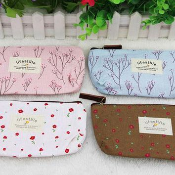 Moonbiffy Hot Sale New Flower Floral Pencil Pen Canvas Case Cosmetic Makeup Tool Bag Storage Pouch Purse