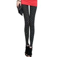 Women Dots Print Elastic Waist Close-fitting Leggings Pants