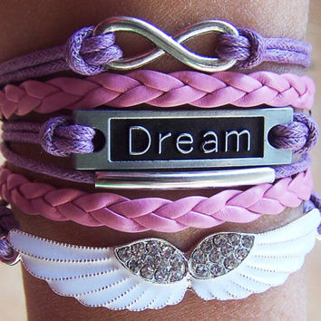Charm Bracelet 256: Angels Wings Infinity Dream Bracelet, Karma Infinity Wish Bracelet