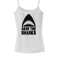 Save The Sharks Spaghetti Strap Tank
