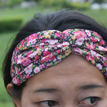 Boho Flower Power  Hippie Turban/ Hair Wrap- Soft Cotton Fabric Mixed Floral Pattern