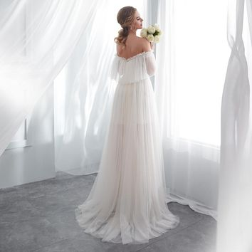 Wedding Gowns for Bride Champagne White Wedding Dresses Off Shoulder Cut Out Dot Tulle