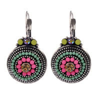Brand Design Vintage Silver 2 Colors Brincos Women Colorful Beads Charms Rhinestones Lucky Drop Earrings Ethnic Jewelry