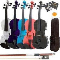 Mendini 4/4 MV300 Solid Wood Satin Antique Violin with Hard Case, Shoulder Rest, Bow, Rosin and Extra Strings (Full Size)