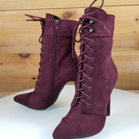 Kayla Burgundy Wine Red Point Toe Lace Up High Heel Ankle Boot Shoe