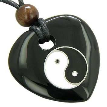 Heart Spiritual Talisman Lucky Ying Yang Black Onyx Gem Necklace