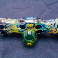 Heady Chillum w/ HUGE UV MARBLE and sparkly glass and color changing fume Glass Pipe