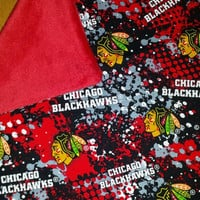 BABY BLANKeT CHiCAGO BLACKHaWKS FABRIC & MiNKY PERSONALiZED So SoFT SnuGGLY Baby Nursery SHoWER GiFT Little Hockey FAN BuRP CLoTHS Too!
