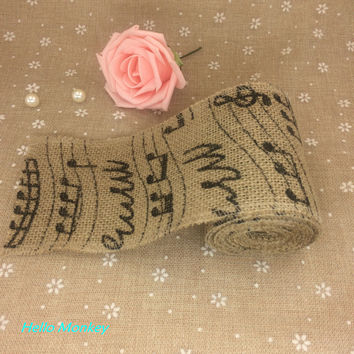 10CM Width Jute Burlap Hessian Ribbon With Musical Notes Ribbon Vintage Wedding Decoration Party Rustic Decoration
