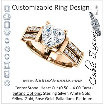 Cubic Zirconia Engagement Ring- The Rachana (Customizable Heart Cut Design with Wide Split-Pavé Band and Euro Shank)