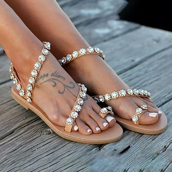 Women Sandals Crystal Female Shoes Beach Flat Sandals Flip Flop