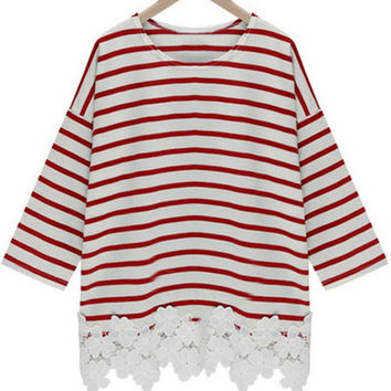 Red Lace Striped Top