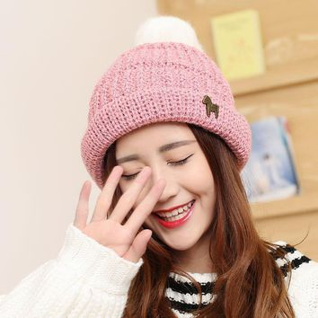 2017 Autumn Winter MS New Wool Ball Cap Knitted Hat Wool Hat Thick Warm Warm Hats for Women