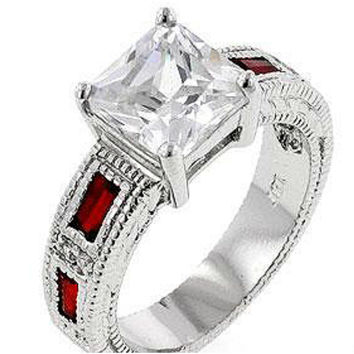 Halle Art Deco Ruby Princess Cut Solitaire Engagement Ring  d6ec236e71e5