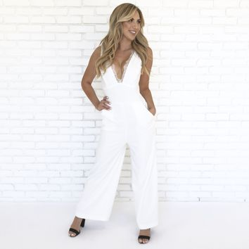 Bellisimo Lace Jumpsuit in White