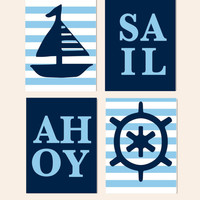 Kids Wall Decor- Nautical Nursery- Beach Themed Ocean Prints- Set of 4 Prints for Boys Room in Blues- Sailboat, Ship Wheel, Ahoy, Sail Print