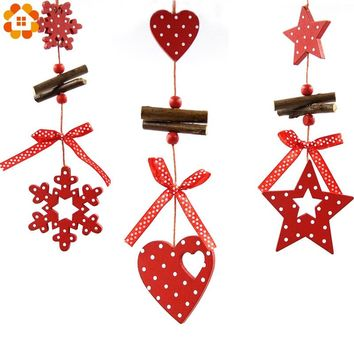 5PCS/Lot DIY Red Christmas Snowflakes&Star&Tree Wooden Pendants Ornaments Home Christmas Party Xmas Tree Kids Gifts Decorations