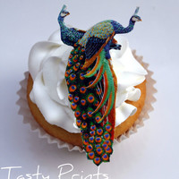 12 EDIBLE Colorful Peacocks  HD Tasty Print  Edible by TastyPrints
