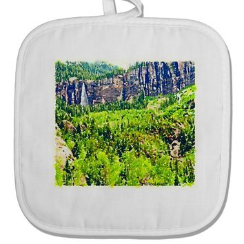 Colorado Cliffs Watercolor White Fabric Pot Holder Hot Pad by TooLoud