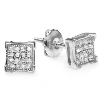 0.10 Carat (ctw) Platinum Plated Sterling Silver Real Diamond V Prong Square Mens Hip Hop Iced Stud Earrings 1/10 CT