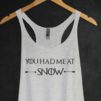 Jon Snow Game of Thrones Tank Top in Heather White-Shirt-Sword Tee T-shirt Tshirt-TV Show GOT Shirt-Quotes Shirt-Cup of tee