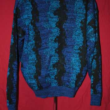 80's Cool Cosby Blue, Black and Purple Sweater by Permit - L