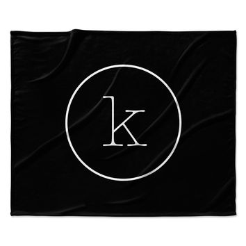"KESS Original ""Simple Black Monogram"" Fleece Throw Blanket"