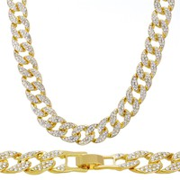 "Jewelry Kay style Men's Choker Heavy Iced Out 15 mm 16"" Gold Toned CZ Stone Cuban Chain Necklace"