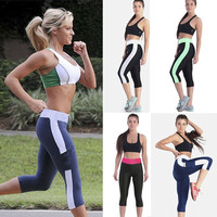 Women Tights Capri Running yoga Sport Pants High Waist Cropped Leggings Fitness Outerdoor Sportwear = 1933097540