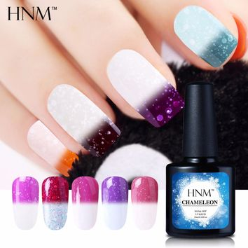 HNM 10ML Temperature Color Change Nail Polish Snowy Thermal Chameleon UV Gel Polish Hybrid Lacquer Varnish Soak Off GelPolish