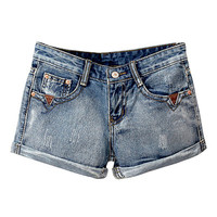 Retro Denim Ripped Rolled Up Shorts