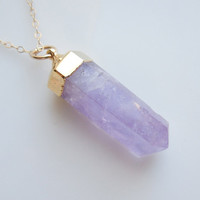 Purple Quartz Necklace in Gold