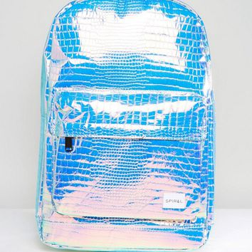 Spiral Backpack in Textured Holographic at asos.com