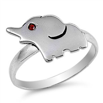 Sterling Silver Unique Design Ruby Eye Elephant Ring Sz 4-10