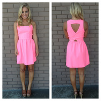 Highlighter Pink Triangle Back Dress