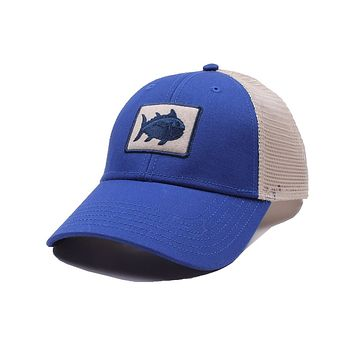 Gameday Skipjack Fly Patch Trucker Hat in University Blue by Southern Tide