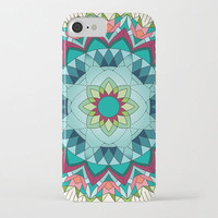 Teal and Coral Mandala Phone Case, iphone X 10 8 8 plus 7, 7 plus  Samsung, geometric mandala, stars