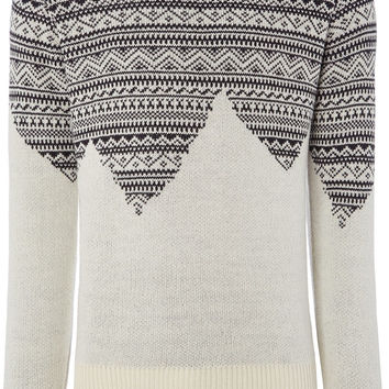 Bellfield Harpar Crew Neck Fairisle Mountain Print Knit Jumper