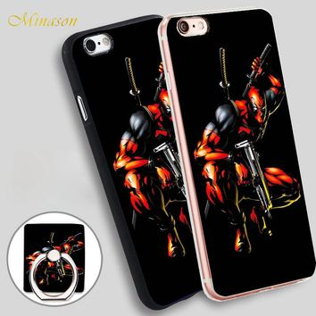 Minason Hot Sale 1pc Deadpool Comics Mobile Phone Shell Soft TPU Silicone Case Cover for iPhone X 8 5 SE 5S 6 6S 7 Plus