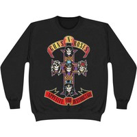 Guns N Roses Men's  Cross Sweatshirt Black Rockabilia