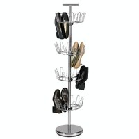 Household Essentials 4-Tier Adjustable Revolving Shoe Tree, Chrome