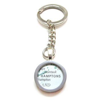 The Hamptons Map Pendant Keychain