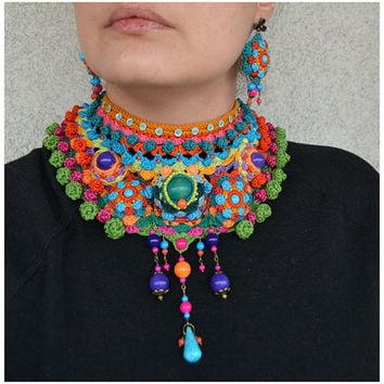 statement tribal choker,colorful ethnic necklace,ooak freeform crochet jewellery,oversized green orange turquoise necklace,mandala chocker