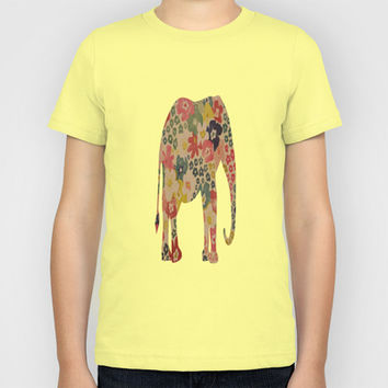 Flower Power Elephant Kids T-Shirt by liberthine01