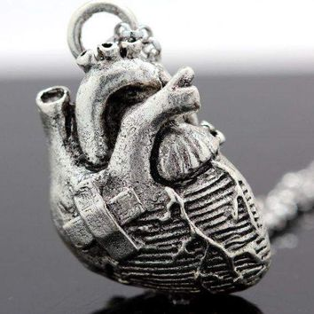 Broken Heart Anatomical Heart Necklace in Antique Silver