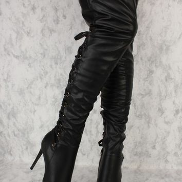 Black Lace Up Detailing Pointy Toe Thigh High Boots Faux Leather