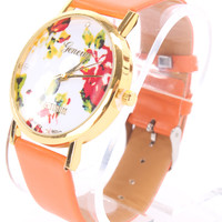Orange Faux Leather Round Face Floral Print Watch