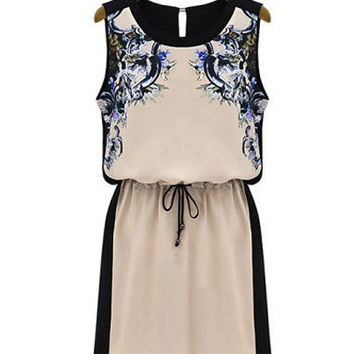 Apricot Print Sleeveless Chiffon Blouson Mini Dress