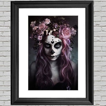 Purple Skull Woman Poster Art Print 24x36, Day Of The Dead, Wall Art, Purple Skull Print, Home Wall Decor, Gift, Poster, Skull Art, Skulls