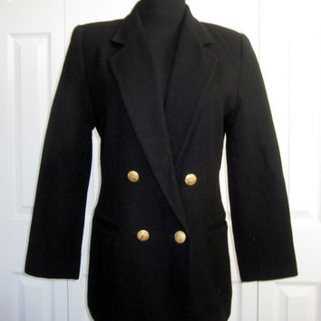 Vintage 80s Double Breasted Blazer Black Wool Blazer Womens 6 Petite Cassablanca Classic Naval Military Nautical Style Gold Buttons